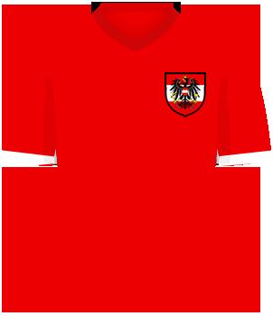 Czerwona koszulka reprezentacji Austrii, z herbem federacji na piersi
