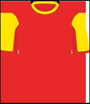 Czerwona koszulka reprezentacji Czarnogóry, z żółtymi rękawami