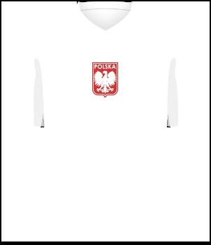 Biała koszulka reprezentacji Polski z 1972 roku, krótki rękaw, na środku klatki piersiowej orzełek bez korony