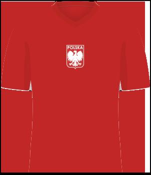 Czerwona koszulka reprezentacji Polski z igrzysk olimpijskich w 1972 roku, krótki rękaw, orzełek bez korony na środku klatki piersiowej