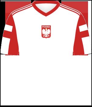 Koszulka reprezentacji Polski z Igrzysk Olimpijskich 1992, biała z czerwonymi wstawkami na rękawkach, czerwonym kołnierzykiem i godłem na środku
