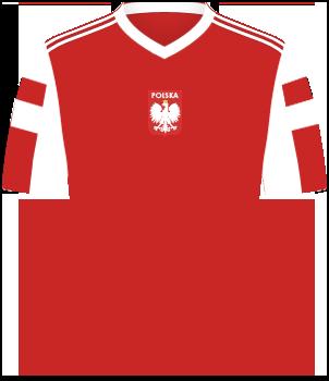Czerwona koszulka reprezentacji Polski z igrzysk olimpijskich w 1992 roku, białe pasy na rękawach oraz orzełek na środku klatki piersiowej