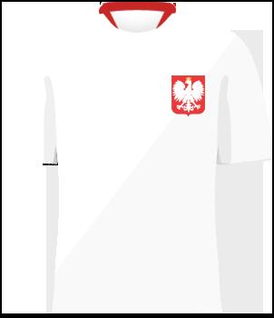 Biała koszulka reprezentacji Polski z orzełkiem na piersi