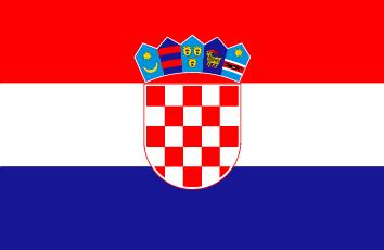 Czerwono-biało-granatowa flaga w poziome pasy z herbem po środku