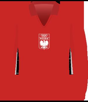 Czerwona koszulka reprezentacji Polski z igrzysk olimpijskich w 1972 roku, z kołnierzem, orzełek bez korony na środku klatki piersiowej, nad orzełkiem kółka olimpijskie