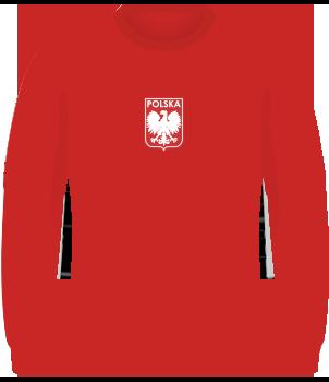 Czerwona koszulka reprezentacji Polski z 1973, długi rękaw, orzełek bez korony pośrodku klatki piersiowej