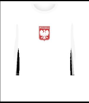 Biała koszulka reprezentacji Polski z 1973 roku, długi rękaw, orzełek bez korony pośrodku klatki piersiowej