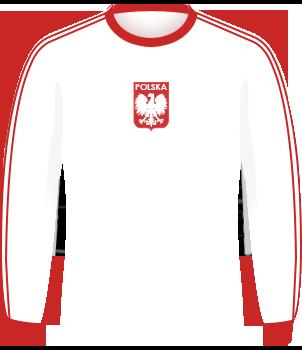 Biała koszulka reprezentacji Polski, z długim rękawem, z orzełkiem bez korony na środku klatki piersiowej