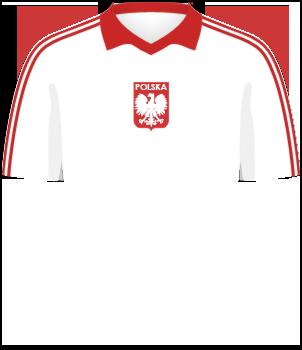 Biała koszulka reprezentacji Polski, z czerwonym kołnierzykiem, z orzełkiem bez korony