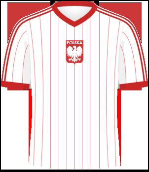 biała koszulka reprezentacji Polski z 1982 roku, w czerwone pionowe pasy, czerwoną otoczką pod szyją i czerwonymi końcami rękawów, po środku klatki piersiowej - orzełek bez korony