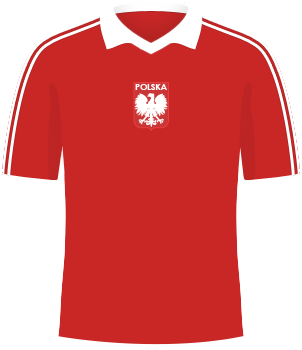 Czerwona koszulka reprezentacji Polski, z biełym kołnierzem, z orzełkiem bez korony, MŚ 1982