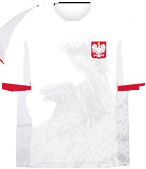 Biała koszulka reprezentacji Polski z husarzem, orzełek na piersi