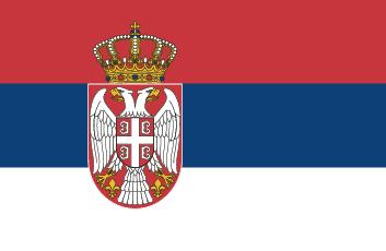 Czerwono-granatowo-biała flaga w poziome pasy z herbem po lewej stronie