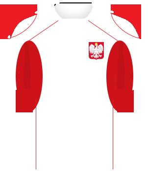 Biała koszulka reprezentacji Polski, z czerwonymi wypustkami pod pachami i na dolnej połowie rękawów. Na piersi orzełek.