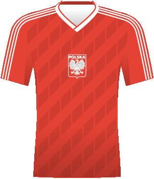 Koszulka reprezentacji Polski z MŚ 1986 (czerwona).