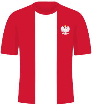 Czerwona koszulka reprezentacji Polski z białym pionowym pasem pośrodku oraz orzełkiem na piersi.