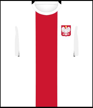 Biała koszulka reprezentacji Polski, z czerwonym pionowym pasem po środku oraz orzełkiem na piersi.