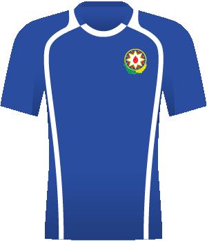 Niebieska koszulka reprezentacji Azerbejdżanu z eliminacji Euro 2008. Po bokach i pod szyją białe pasy.