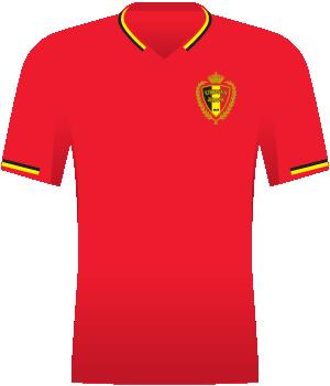Czerwona koszulka reprezentacji Belgii z eliminacji Euro 2008. Na piersi herb federacji. Kołnierzyk i końcówki rękawów w barwach belgijskiej flagi.