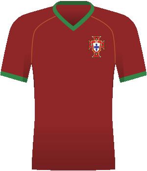 Bordowa koszulka reprezentacji Portugalii z zieloną otoczką pod szyją i zielonymi końcówkami rękawów.