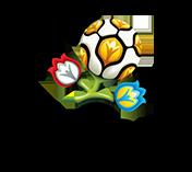 Logo - piłka jako pąk i dwa kwiaty w barwach Polski i Ukrainy.