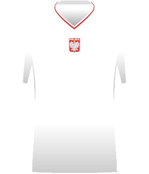 Biała koszulka reprezentacji Polski, z biało-czerwonym kołnierzem. Orzełek na środku.