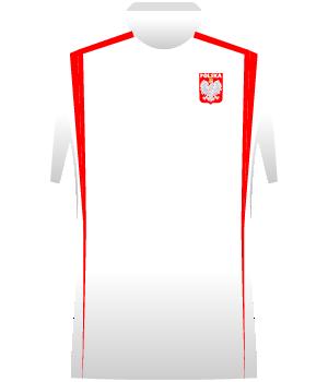 Biała koszulka reprezentacji Polski z czerwonymi pasami po bokach.