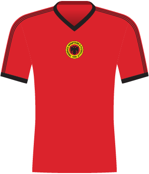 Czerwona koszulka reprezentacji Albanii.