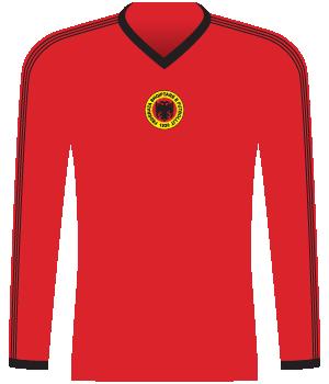 Czerwona koszulka Albanii.