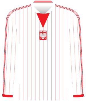 Biała koszulka reprezentacji Polski w czerwone cienkie pionowe paski.