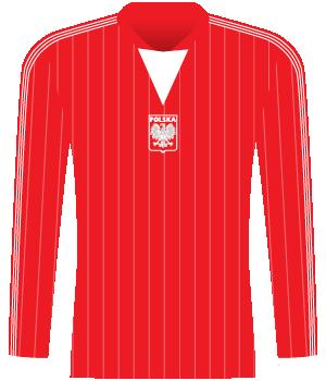 Czerwona koszulka Polski w białe cienkie pionowe paski.