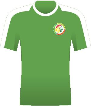 Zielona koszulka Senegalu z białym pasem u góry rękawów i barków.