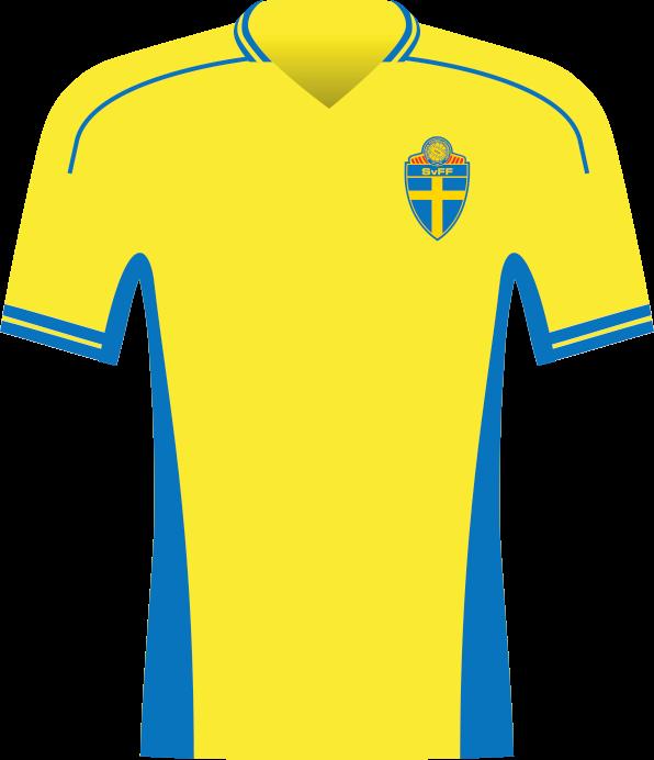 Żółta koszulka Szwecji.