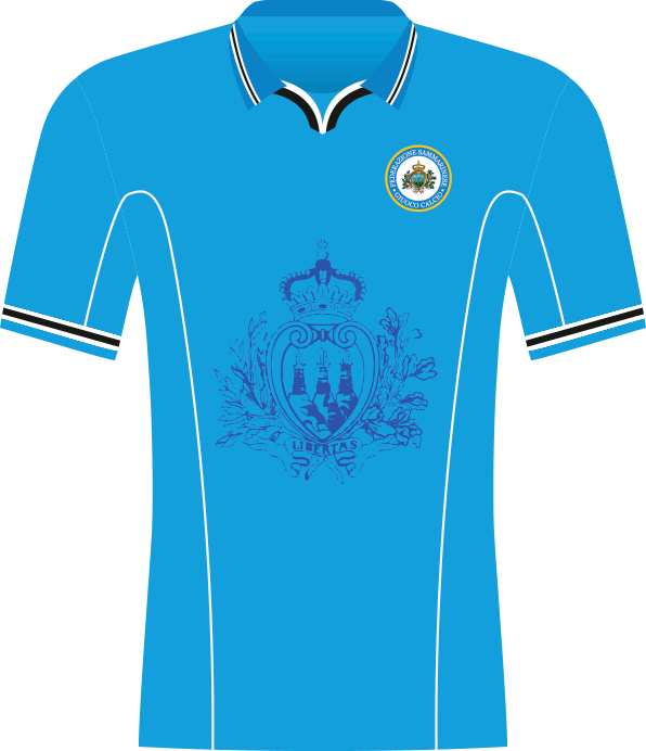Błękitna koszulka reprezentacji San Marino z herbem państwa na środku.