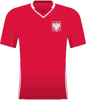 Czerwona koszulka Polski z meczu wyjazdowego z Czechami, el. MŚ 2010.