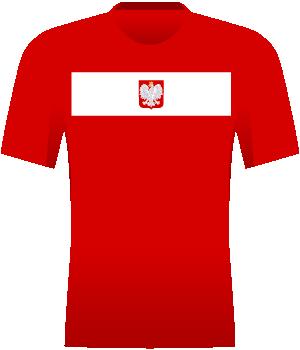 Czerwona koszulka Polski z białym pasem.