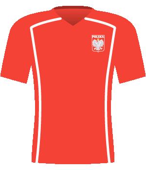 Czerwona koszulka Polski z 2005 roku.