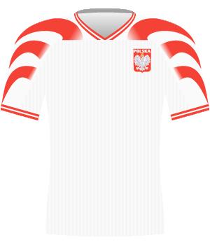 Koszulka reprezentacji Polski z eliminacji mistrzostw Europy 1996.