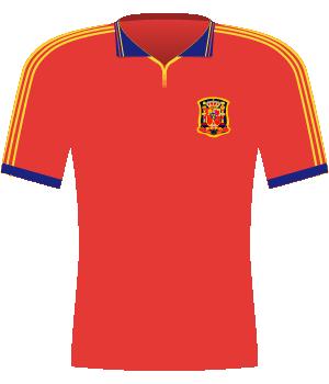Czerwona koszulka Hiszpanii z 2000 roku.