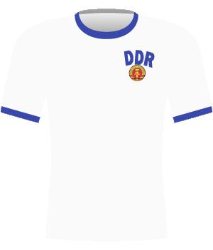 Biała koszulka reprezentacji NRD z eliminacji Euro 1980.