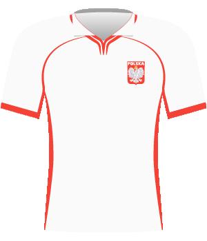 Biała koszulka reprezentacji Polski z czerwonymi elementami.