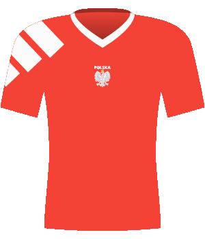 Czerwona koszulka Polski z eliminacji MŚ 1994.