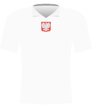 Biała koszulka reprezentacji Polski z eliminacji MŚ 1958.