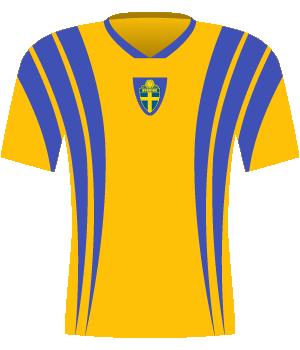 Żółta koszulka Szwecji z niebieskimi pionowymi pasami.