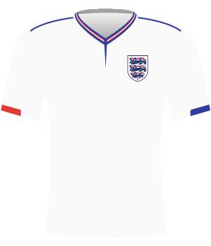 Koszulka reprezentacji Anglii z eliminacji MŚ 1990.