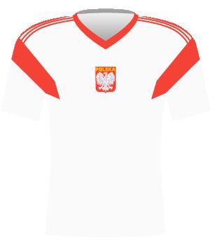 Biała koszulka reprezentacji Polski z eliminacji MŚ 1992.