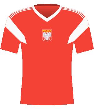 Czerwona koszulka reprezentacji Anglii z eliminacji MŚ 1990.