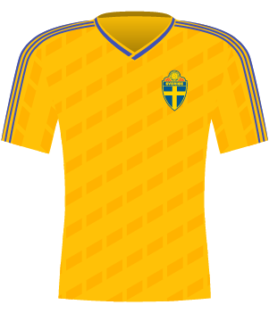 Żółta koszulka reprezentacji Szwecji z eliminacji MŚ 1990.