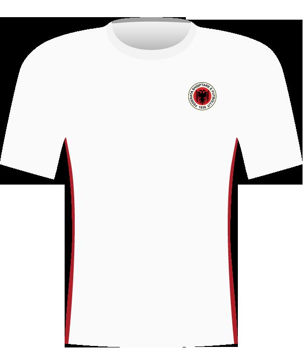 Biała koszulka Albanii z 2008 roku.