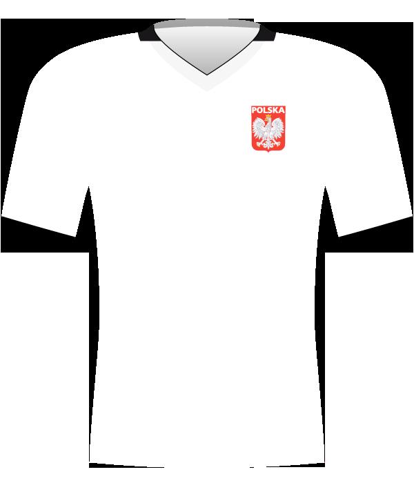 Biała koszulka reprezentacji Polski (z czarnym kołnierzykiem) z roku 2009.